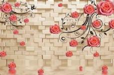 花藤砖墙装饰画