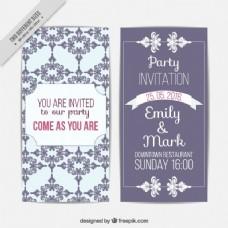 可爱婚礼卡与复古装饰