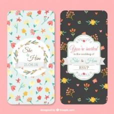 婚礼卡片与花的细节