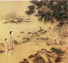 古代人物与树木风景图片