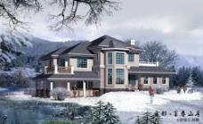 别墅雪景效果图片