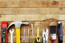 装修工具木板背景图片