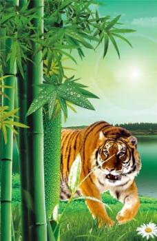 老虎竹林装饰画