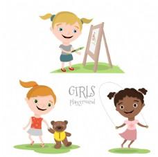 女孩操场玩耍
