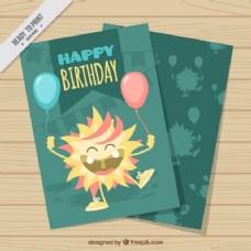 手绘生日气球生日快乐卡