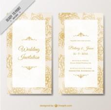 优雅的婚礼邀请与花卉元素