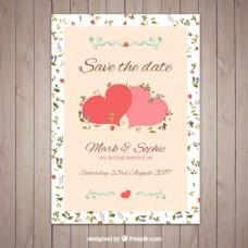 漂亮的婚礼邀请两颗可爱的心