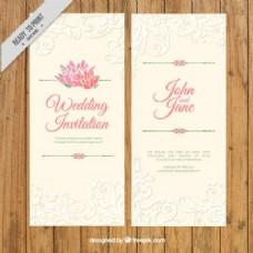优雅的老式婚礼邀请与装饰细节