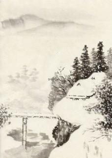 水墨雪景国画图片