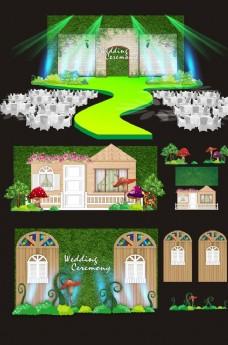 绿色奇幻森林主题婚礼婚庆