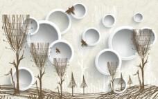 3D手绘抽象蒲公英室内背景墙