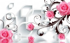 3D水波玫瑰电视背景墙