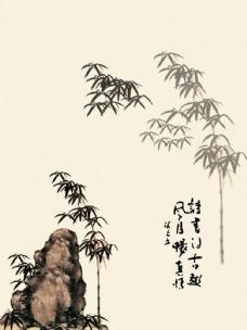 石头与竹子图片