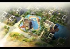 城市建筑效果鸟瞰图图片