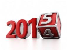 红色立体数字2014和2015图片