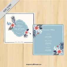 用鲜花装饰的方形卡片