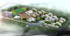 学校建筑设计鸟瞰图片
