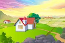 田园风景 农家场景 卡通背景