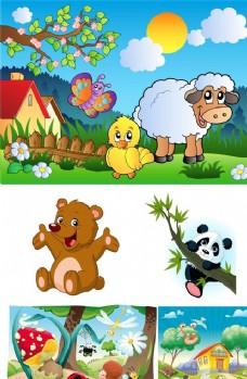 卡通动物 绵羊 小熊 熊猫