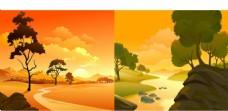 夕阳风景 黄昏场景 卡通背景
