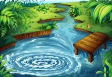动漫插画 池塘 树林 桥