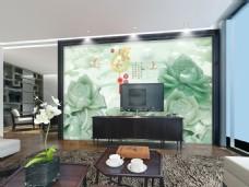 绿色荷花玉石雕刻时尚背景墙设计素材