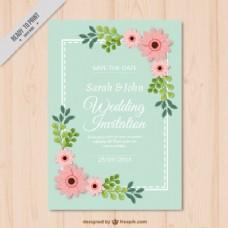 鲜花装饰结婚卡