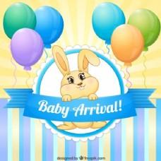可爱的兔子与气球婴儿淋浴卡