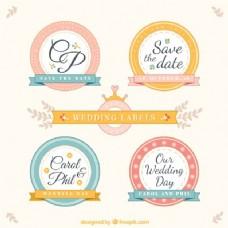复古风格的圆形婚礼标签