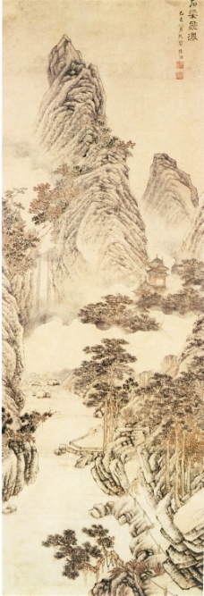 石梁飞瀑图装饰画