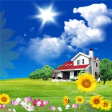 花朵别墅装饰画