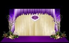 紫色婚礼留影区效果图素材