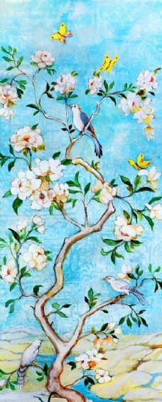 树枝上的小鸟油画写生图片