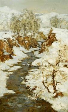 冬天雪地水沟风景油画图片