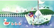 童话纸船人物素材