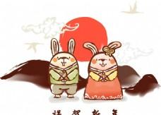 卡通古典小兔素材