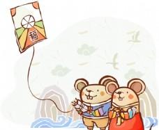 老鼠放风筝素材