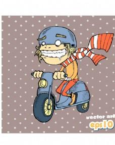 汽车摩托车小人素材