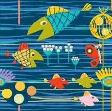 卡通海底鱼群素材