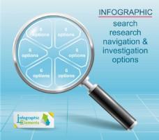 蓝色放大镜信息图表图片