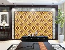 方格子花纹装饰背景墙