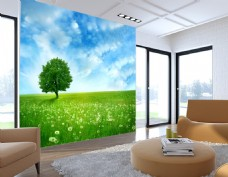 草坪天空风景背景墙