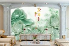 玉石荷花装饰背景墙