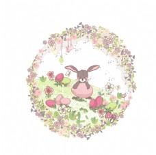 温馨花朵小兔素材