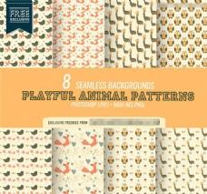 8款各种可爱的小动物图形PS图案