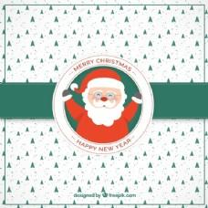 圣诞树卡与圣诞老人