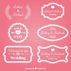 粉红婚礼徽章收集