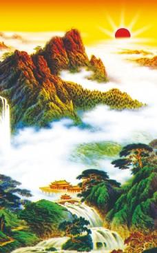 山水国画风景中堂画图片