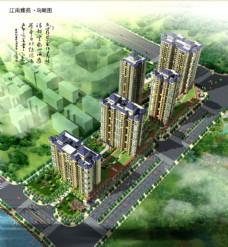 江南雅苑小区建筑鸟瞰图片