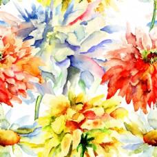 漂亮的花朵水彩画背景素材图片